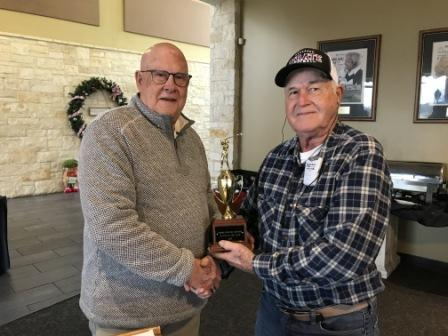 Bill Reuthinger receives the 2019 Player of the Year Award from President David Wright